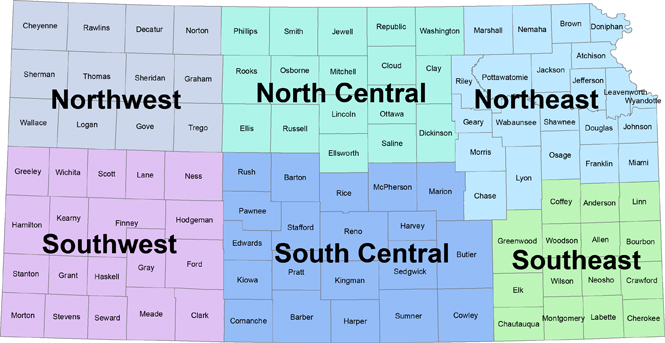 Map of the State of Kansas divided into six areas: Northwest, North Central, Northeast,  Southwest, South Central, Southeast.